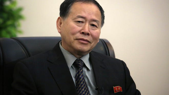 North Korea's vice minister Han Song Ryol is pictured during an interview with The Associated Press in Pyongyang, North Korea.