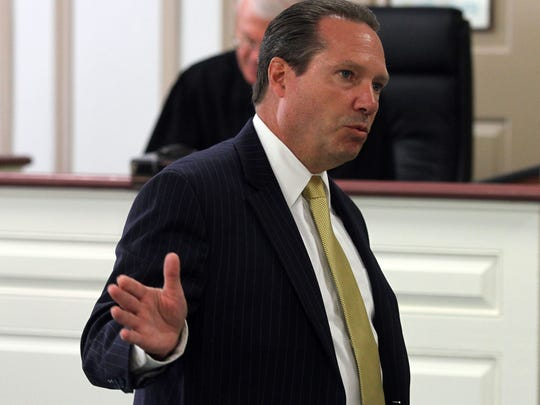 Defense attorney Walter Laufenberg during opening statements. His client, Fabio Aristizabal is charged with vehicular homicide, allegedly driving under the influence of alcohol when he struck and killed Richard Oberst, 64, of Morris Plains on Dec. 22, 2012. September 29, 2015, Morristown, NJ.