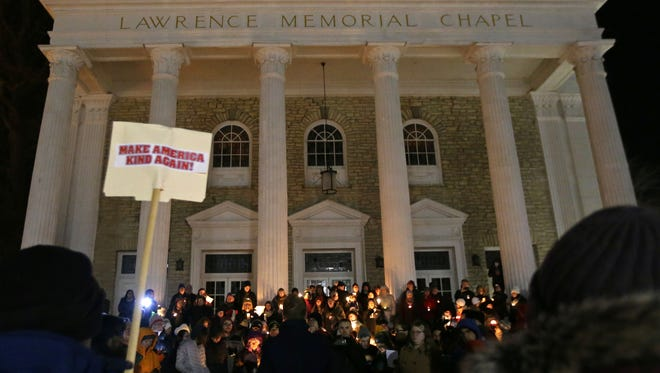 A 2017 rally drew more than 200 people to the Lawrence Memorial Chapel in Appleton to protest President Donald Trump's executive order on immigration and travel.