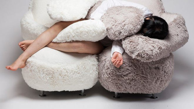 South Korean designer Lee Eun Kyoung created a furry sofa with long soft arms that are meant to give the feeling of being held by a loved one.