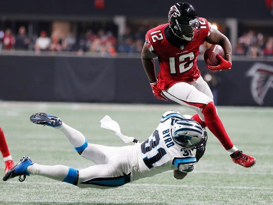 Falcons wide receiver and former Rutgers star Mohamed Sanu (12).