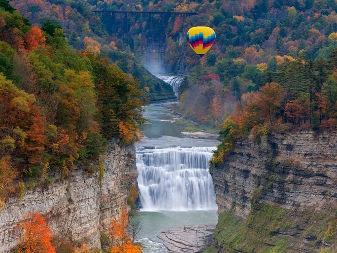 Home of the Big Apple and the Yankees, New York is a state with incredible diversity. The third-most populous state and the 11th to join the union, it's a place of cosmopolitan cities, quaint villages and immense natural beauty. Pictured here are the Middle and Upper Falls at Letchworth State Park.