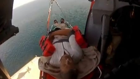 The Coast Guard medically evacuated a man from a cruise ship, Aug. 9, 2015, approximately 40 miles east of Sebastian Inlet, Florida. The man, reported to be suffering severe stomach problems, was hoisted and taken to a hospital for further treatment.
