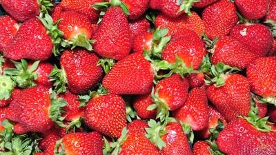 A flat of strawberries.