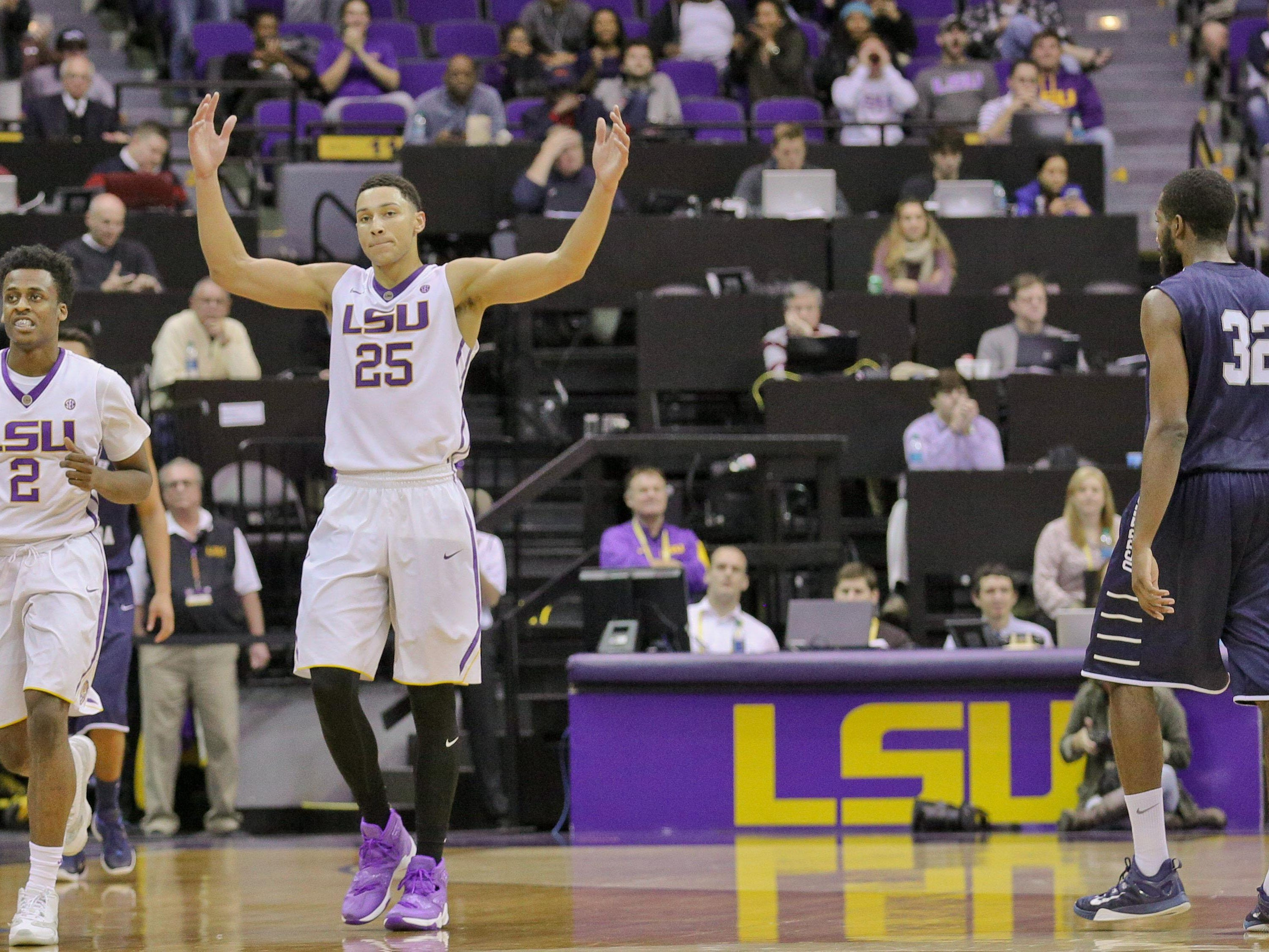 LSU Tigers forward Ben Simmons (25) reacts to the crowd during the second half of a game against the North Florida Ospreys at the Pete Maravich Assembly Center. LSU defeated North Florida 119-108.