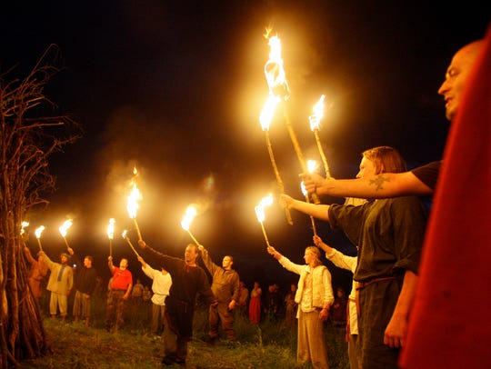 Russian neo-pagans prepare to light the bonfire celebrating