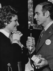 Former Gov. Robert Ray presents Marilyn Maye with a