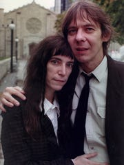 Patti Smith and Fred (Sonic) Smith outside Mariners'