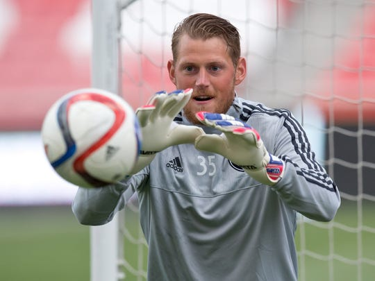 San Jose Earthquakes goalkeeper Bryan Meredith warms up prior to the match against Real Salt Lake at Rio Tinto Stadium on May 1, 2015.