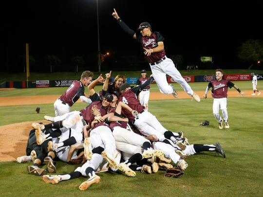 Chandler Hamilton celebrates after winning the Arizona 2017 6A baseball championship.