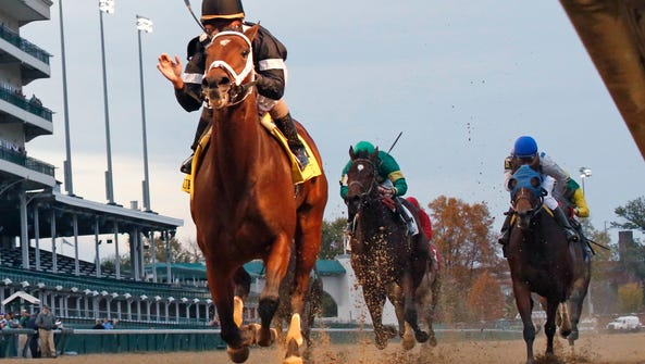 Spelling Again takes Churchill Downs' Chilukki Stakes.