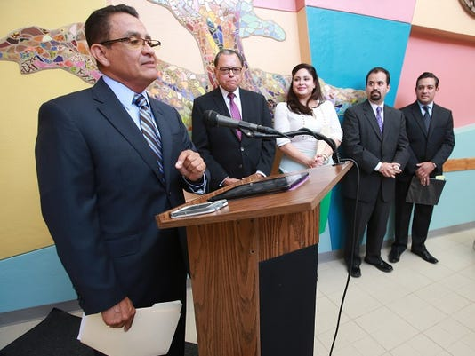 VICTOR CALZADA-EL PASO TIMES El Paso District Attorney and Texas Council on Family Violence Board Chair Jaime Esparza, left,  thanked El Paso state legislators Wednesday. The law makers are Sen. Jose Rodriguez, Rep. Marisa Marquez, Rep. Joe Moody and Rep. Cesar Blanco.