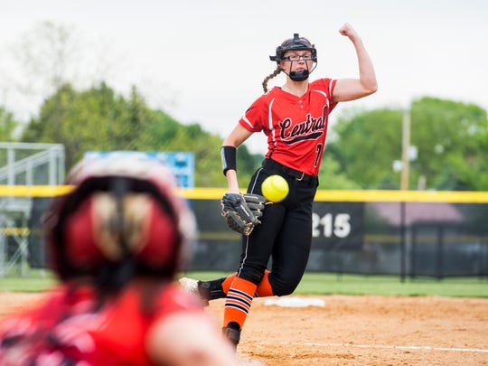 Central York's Courtney Coppersmith pitches against