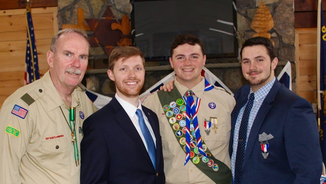 The Eagle Scouts of the Lynch family: From left to right: Dan Lynch, Danny Lynch, Robert Lynch and Michael Lynch. Robert earned the rank on Sunday.