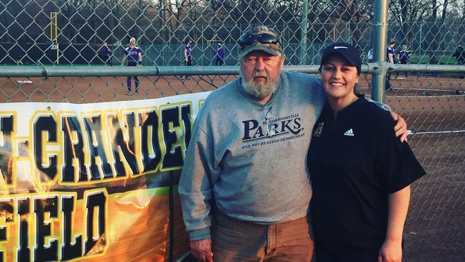 """Hendersonville has named Kari Akin, left, its next softball coach. She stands besides her father Steve """"Chick"""" Crandell."""