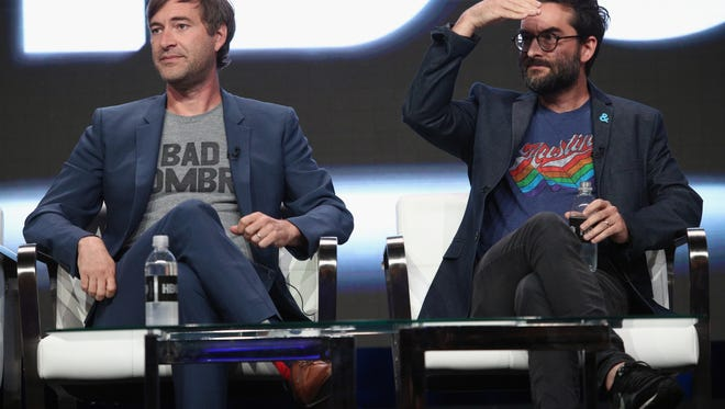 "BEVERLY HILLS, CA - JULY 26:  Creator/executive producer Mark Duplass and creator/executive producer Jay Duplass of ""Room 104"" speak onstage during the HBO portion of the 2017 Summer Television Critics Association Press Tour at The Beverly Hilton Hotel on July 26, 2017 in Beverly Hills, California.  (Photo by Frederick M. Brown/Getty Images)"
