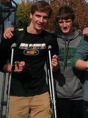 Ryan Corbitt attends the PIAA cross country championships on Nov. 4 a week after breaking his fibula.