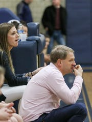 Chatham head coach Joe Gaba watches from the sideline during a girls basketball game against Bayonne at Chatham High School on January 13, 2018.