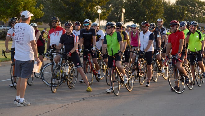Close to 200 bike enthusiasts are expected to be on hand for the 22nd annual Vernon Burnin' Bike Ride Saturday. Ricky Graf, one of the ride's chairmen, is shown giving last minute instructions to participants in the 2015 ride.