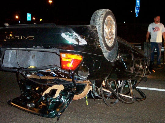 This is the car Sarah Panzau Evans wrecked while driving home drunk in East St. Louis, Ill., on Aug. 23, 2003.