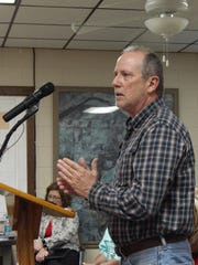 Bill Morris talks to the Cotter City Council on Thursday