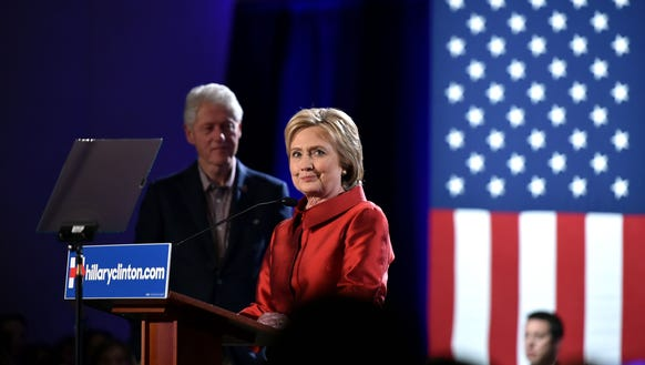 Hillary Clinton speaks to a cheering crowd after winning