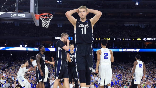 Gonzaga Bulldogs forward Domantas Sabonis (11) reacts against the Duke Blue Devils during the second half in the finals of the south regional of the 2015 NCAA Tournament at NRG Stadium.