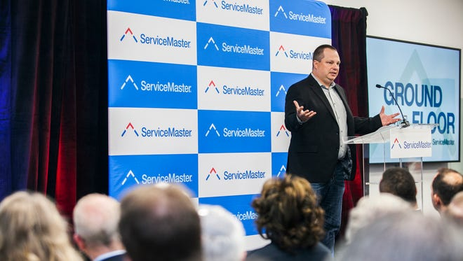 June 15, 2017 - Jamie Smith, senior vice president and CIO, speaks during a ceremony as ServiceMaster opens the first part of its corporate headquarters in Downtown Memphis on Thursday. The Innovation and Incubator Space Ground Floor is home in the former Tower Records space at Peabody Place and Third St.