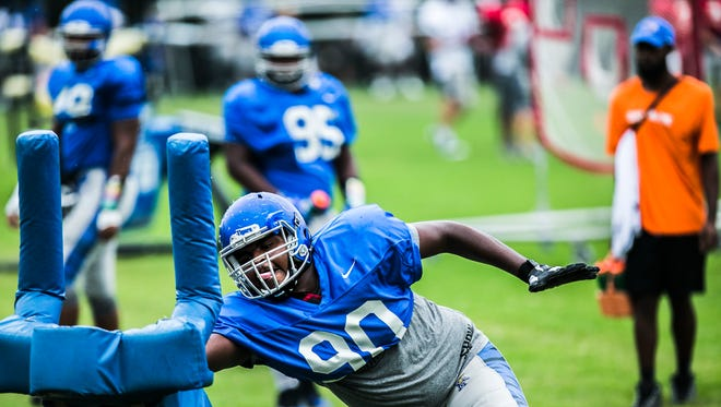 Memphis sophomore defensive lineman John Tate helped lead a strong day by the defense in Saturday's spring scrimmage