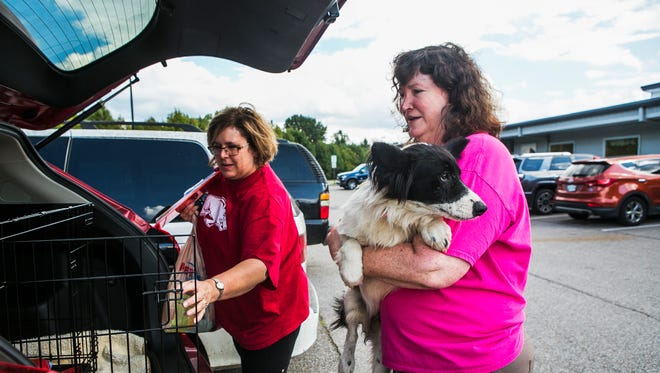October 9, 2017 - Foster mom Stacey Peeney, left, and Kim Fike, president of Fresh Start Sheltie Rescue, load Storm, a 4-year-old male dog into a vehicle at Memphis Animal Services on Monday. The facility is making efforts to find homes for a large influx of dogs. If it doesn't reduce the number of dogs in kennels today and tomorrow, the animals could be euthanized later this week.
