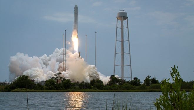 The Orbital Sciences Corp. Antares rocket launches an International Space Station resupply mission July 13, 2014, at NASA's Wallops Flight Facility in Virginia.