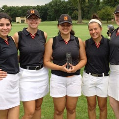 Northville's runner-up team at the Highest Honor Invitational Thursday at Huron Meadows included (from left) Alyse Clevenger, Katie Childers, Maddy Berman, Jen Kowalczyk and Elizabeth McGowan.