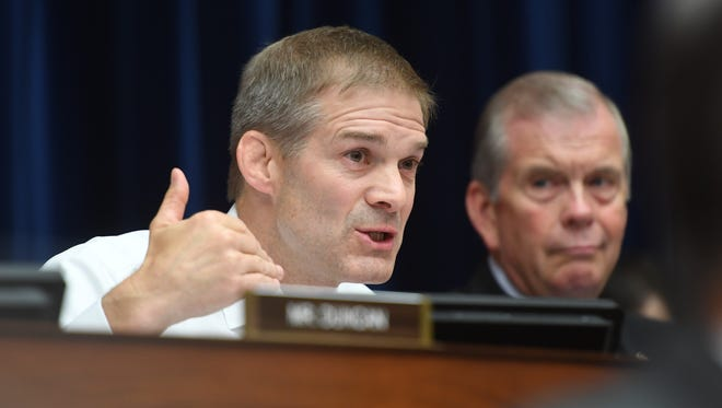 Jim Jordan, R-Ohio, questions FBI Director James Comey during testimony before the House Oversight Committee on July 7, 2016.