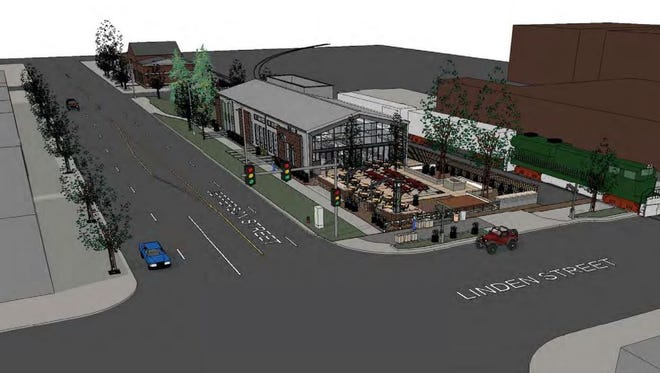 This drawing shows the planned redevelopment of Jefferson Street Park in Old Town Fort Collins. Plans call for turning the troubled park into a new restaurant with indoor and outdoor dining.