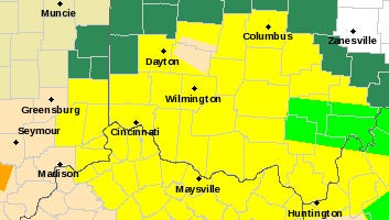 A look at Thursday night's weather for local counties, which are all under a tornado watch (in yellow).