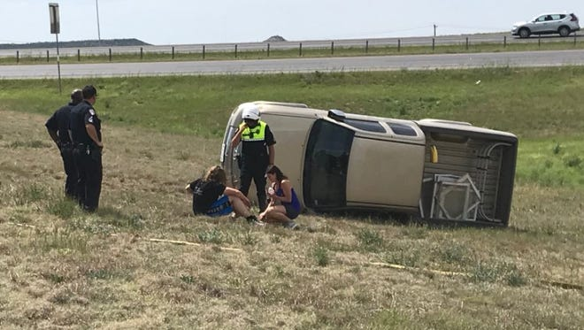 A Toyota Tundra rolled onto its driver side in a single-vehicle crash on Loop 306 in San Angelo on Thursday, April 12, 2018.