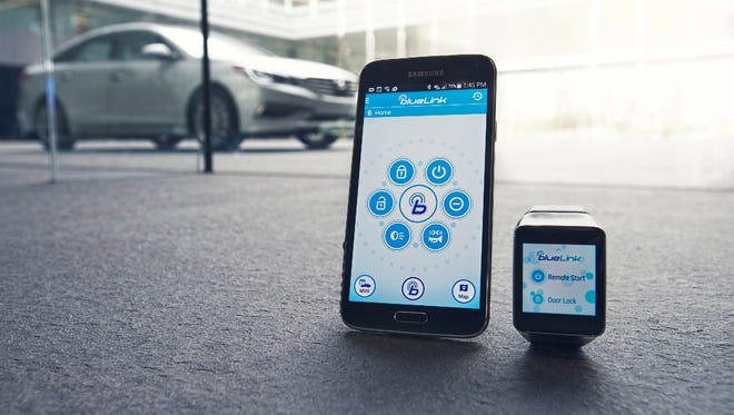Hyundai's Bluelink app lets users start their car or lock their doors through their smartphone or smartwatch.
