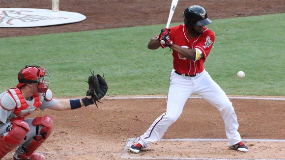 Manuel Margot of the El Paso Chihuahuas eyes the ball against the Memphis Redbirds Tuesday night at Southwest University Park.