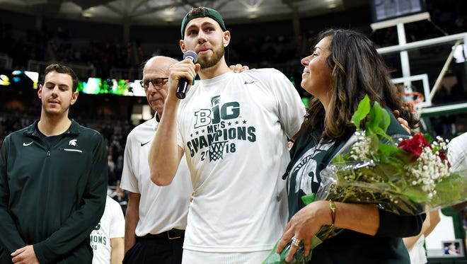 Michigan State's Ben Carter addresses the fans after the game on Tuesday, Feb. 20, 2018, at the Breslin Center in East Lansing. The Spartans beat Illinois 81-61.