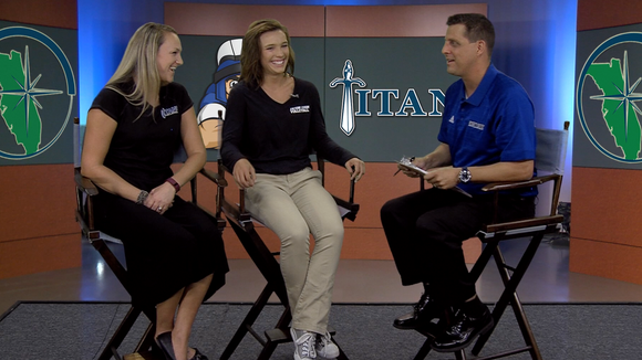 "Eastern Florida volleyball coach Andrea Rasmussen and player Megan Graefe talk with host Jeff Radcliffe on the inaugural episode of ""Inside Titan Sports."""