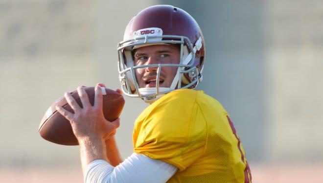USC Trojans quarterback Max Wittek during an evening practice.