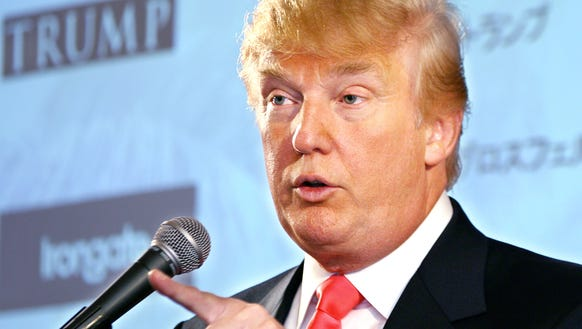 Donald Trump speaks at a press conference in Tokyo