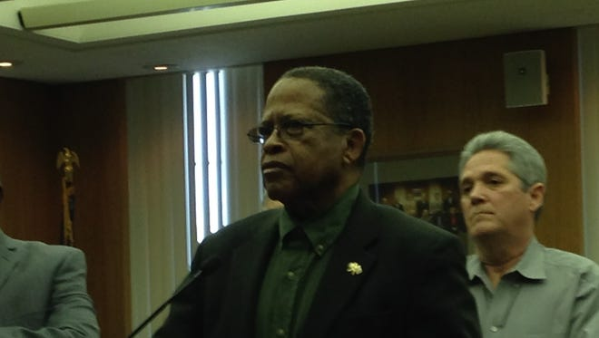 Rapides Parish Police Juror Ollie Overton talks about the Coliseum project during a Friday press conference that featured comments from all nine jurors.