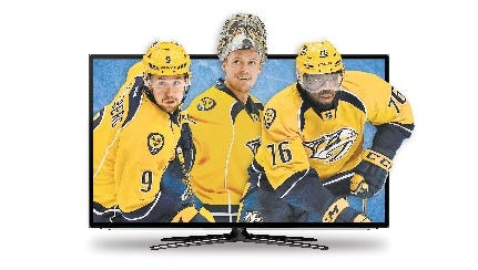 Predators Filip Forsberg, Pekka Rinne and P.K. Subban