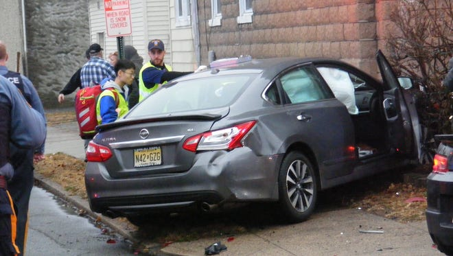 A two car collision at the intersection of Hopper Avenue and 6th Street in Fair Lawn on Saturday afternoon sent a sedan involved in the incident crashing into a nearby home.
