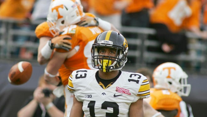 "Iowa cornerback Greg Mabin (13) was benched during the TaxSlayer Bowl, and finds himself competing at left cornerback with Maurice Fleming. Defensive coordinator Phil Parker said the Hawkeyes ""didn't show up"" in the 45-28 loss to Tennessee."