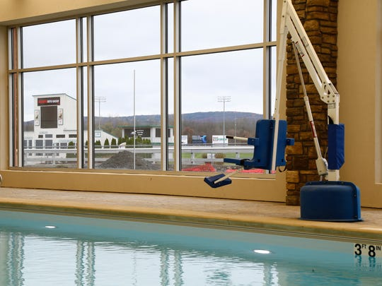 The salt water pool overlooks the race that at the