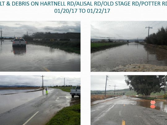 Silt, debris and water remain on Hartnell, Alisal, Old Stage and Potter roads as indicated in this Powerpoint slide that Monterey County staff showed to the Monterey County Board of Supervisors on Tuesday.