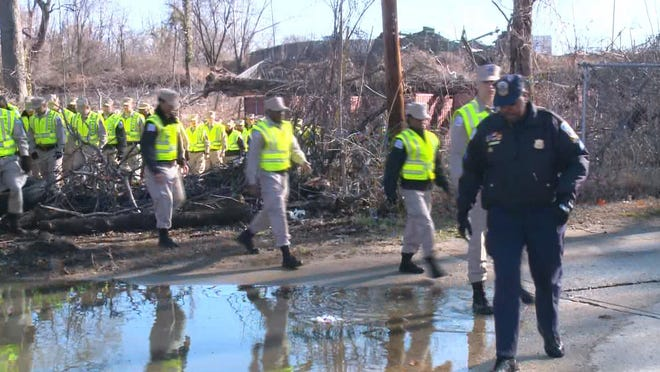 Police search Kenilworth Aquatic Gardens on March 31, 2014, in connection with missing D.C. 8-year-old Relisha Rudd.