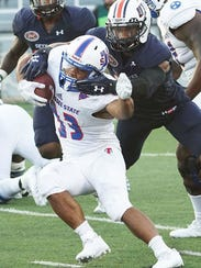 Tennessee State's leading rusher Seth Rowland (33)